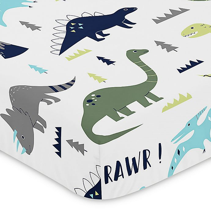 Alternate image 1 for Sweet Jojo Designs Mod Dinosaur Print Fitted Crib Sheet in Turquoise/Navy