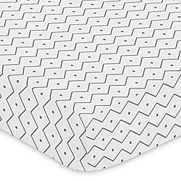Sweet Jojo Designs Mod Dinosaur Chevron Prehistoric Print Fitted Crib Sheet in Grey
