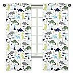 Sweet Jojo Designs Mod Dinosaur Print 84-Inch Window Panels in Turquoise/Navy (Set of 2)