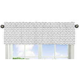 Sweet Jojo Designs® Mod Dinosaur Chevron Prehistoric Print Window Valance in Grey