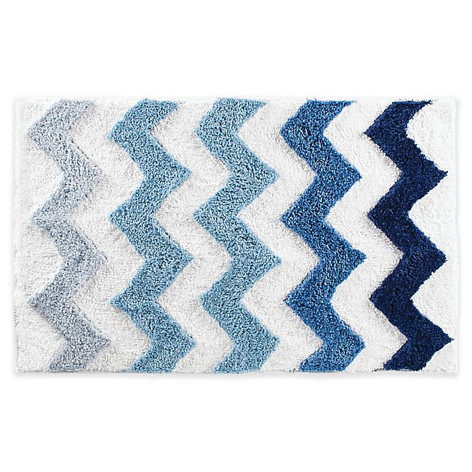 Alternate image 1 for iDesign® 34-Inch x 21-Inch Microfiber Chevron Bath Rug in Blue