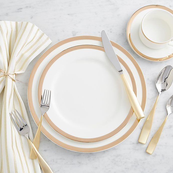 Alternate image 1 for Nevaeh® White by Fitz and Floyd® Gold Band Dinnerware Collection