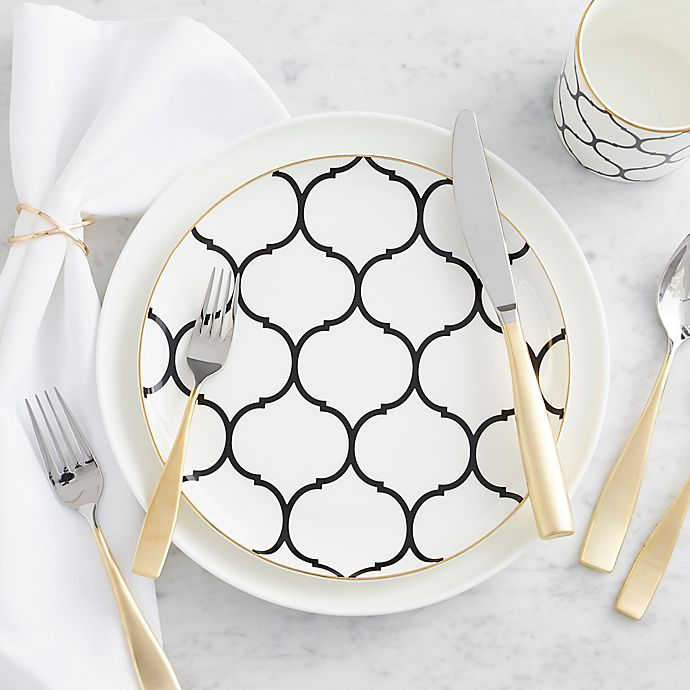 Alternate image 1 for Nevaeh® by Fitz and Floyd® Lattice Dinnerware Collection in Black/Gold