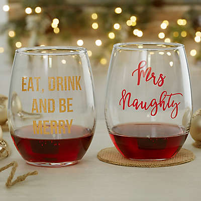 Christmas Celebrations Personalized 21oz. Stemless Wine Glass