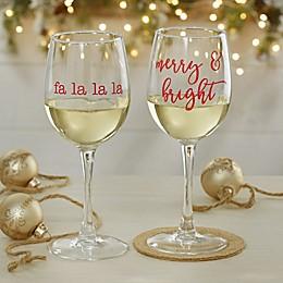 Christmas Celebrations Personalized 12 oz. White Wine Glass
