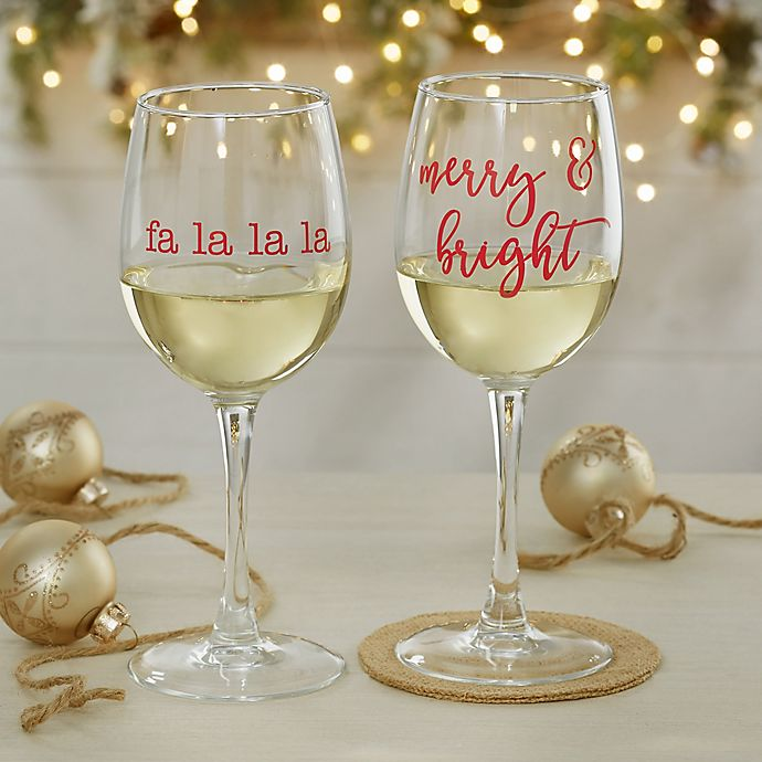 Alternate image 1 for Christmas Celebrations Personalized 12 oz. White Wine Glass