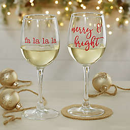 Christmas Celebrations Personalized 12 oz. White Wine Glass