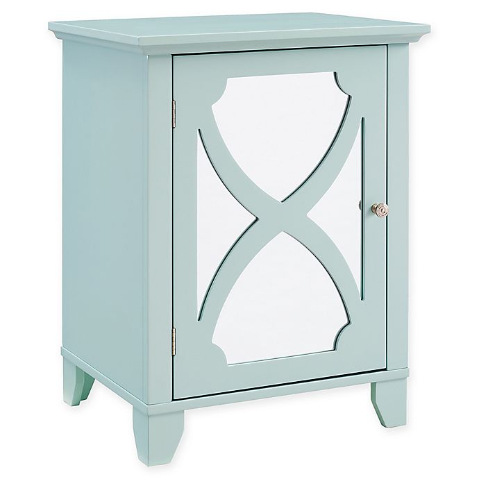 Alternate image 1 for Linon Home Small Cabinet with Mirror Door in Seafoam