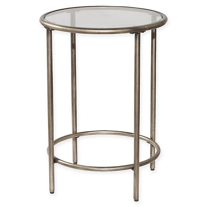 Hillsdale Corbin End Table In Silver With Black Rub Bed Bath And