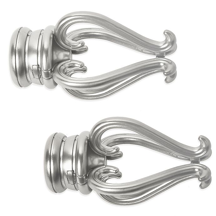 Alternate image 1 for Cambria® Premier Complete Florentine Finial in Brushed Nickel (Set of 2)
