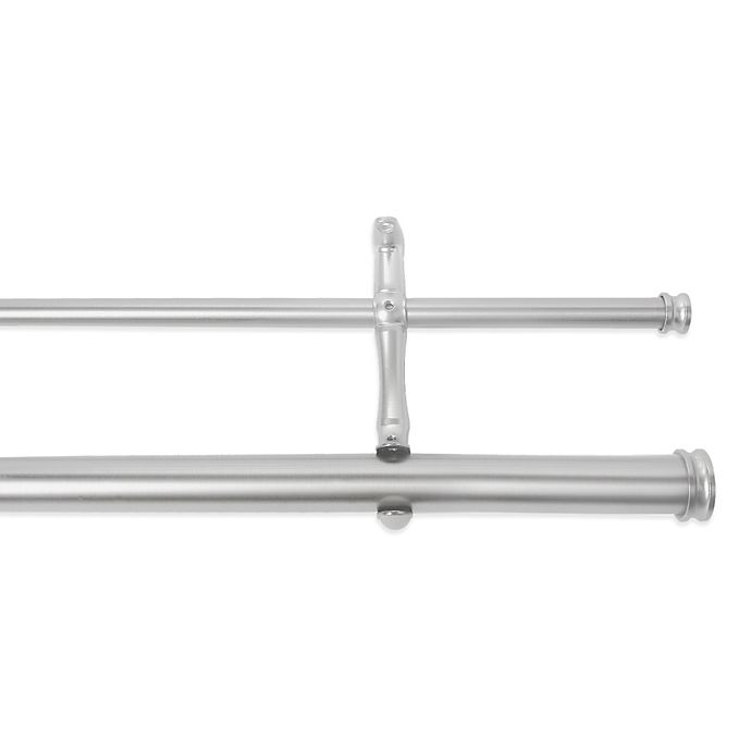 Cambria Premier Complete Double Drapery Rod In Brushed Nickel Bed