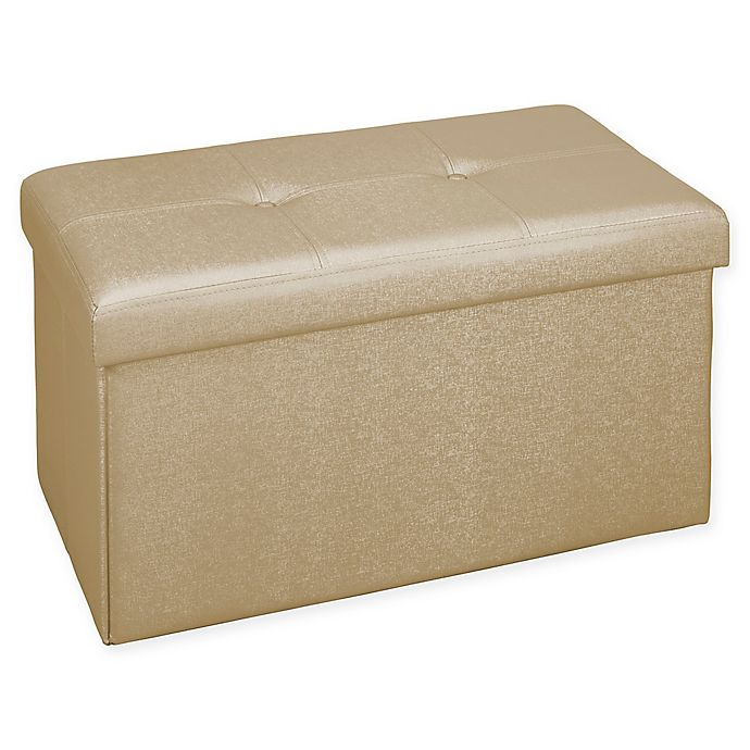 Alternate image 1 for Simplify Double Folding Faux Leather Metallic Ottoman in Gold