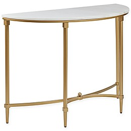 Madison Park Signature Bordeaux Marble Top Console Table in Gold