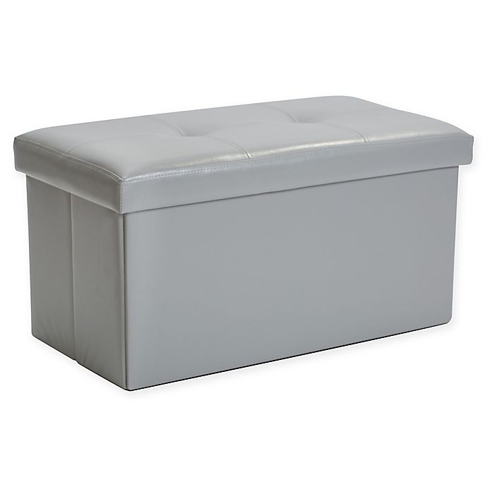 Alternate image 1 for Simplify Double Folding Faux Leather Ottoman in Dark Grey