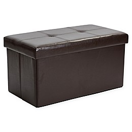 Simplify Double Folding Faux Leather Ottoman