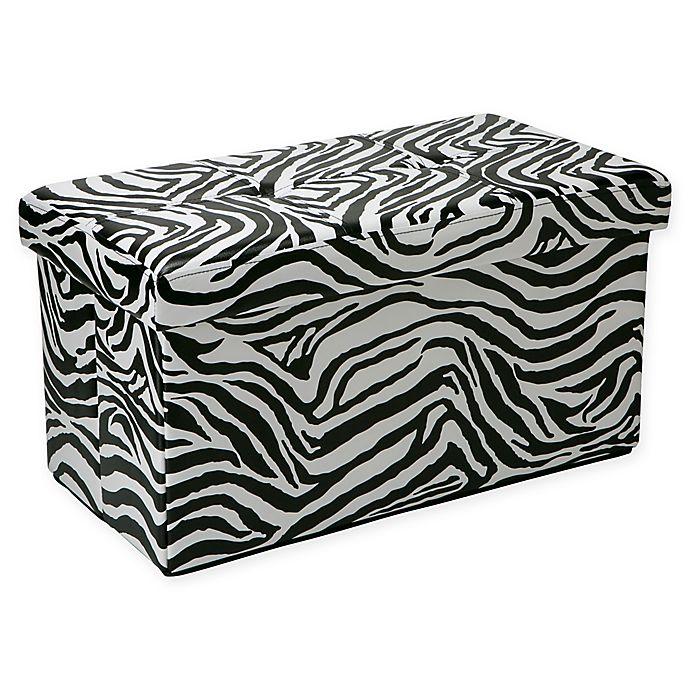 Simplify Double Folding Faux Leather Ottoman In Zebra