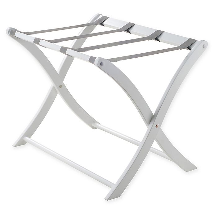 Alternate image 1 for Solid Wood Luggage Rack in White
