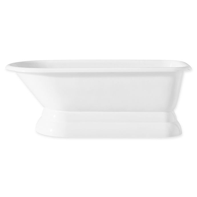 Alternate image 1 for Cheviot Traditional 68-Inch Roll Rim Cast Iron Bathtub with Pedestal Base in White