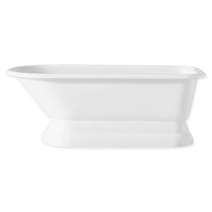 Alternate image 1 for Cheviot Traditional 68-Inch Cast Iron Bathtub with 6-Inch Drill and Pedestal Base in White