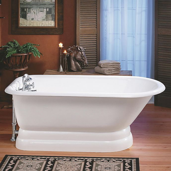 Alternate image 1 for Cheviot Regency 61-Inch Cast Iron Bathtub with 8-Inch Drill and Pedestal Base in White