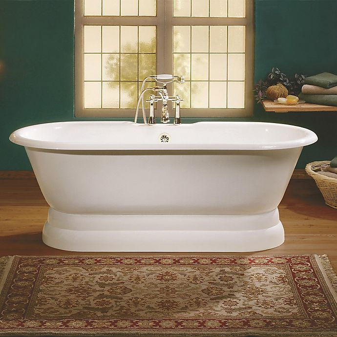 Alternate image 1 for Cheviot Regal 70-Inch Cast Iron Bathtub with 7-Inch Drill and Pedestal Base in White