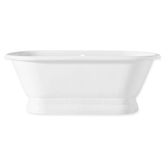 Alternate image 1 for Cheviot Regal 70-Inch Roll Rim Cast Iron Bathtub with Pedestal Base in White