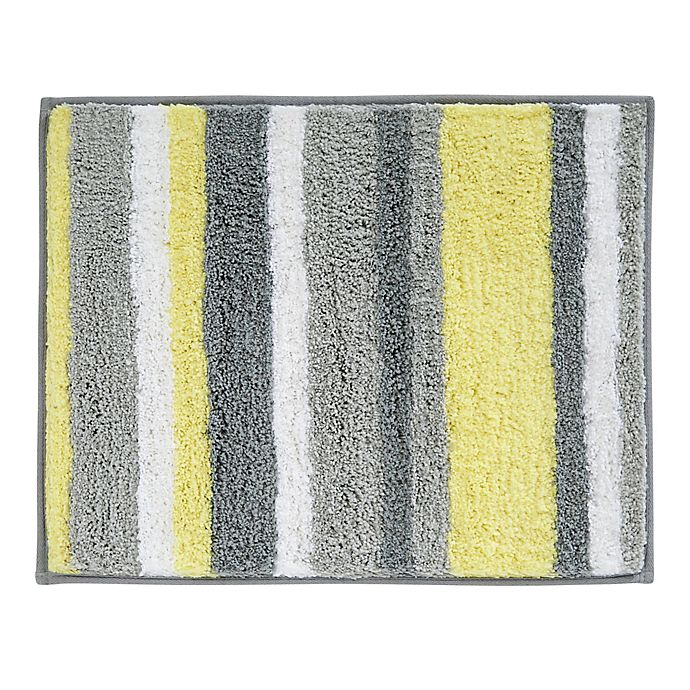 Alternate image 1 for iDesign® 21-Inch x 17-Inch Microfiber Stripz Bath Rug
