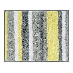 iDesign® 21-Inch x 17-Inch Microfiber Stripz Bath Rug in Yellow