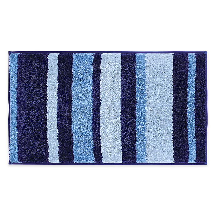 Microfiber Towels Bed Bath And Beyond: IDesign® 34-Inch X 21-Inch Microfiber Stripz Bath Rug