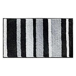 iDesign® 34-Inch x 21-Inch Microfiber Stripz Bath Rug in Black