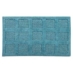 "Square Honeycomb 24"" x 40"" Bath Mat in Aquamarine"