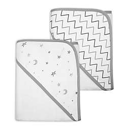 TL Care® 2-Pack Star and Zigzag Organic Cotton Hooded Towels in Grey