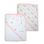 TL Care® 2-Pack Arrow and Feather Organic Cotton Hooded Towels in Gold/Pink