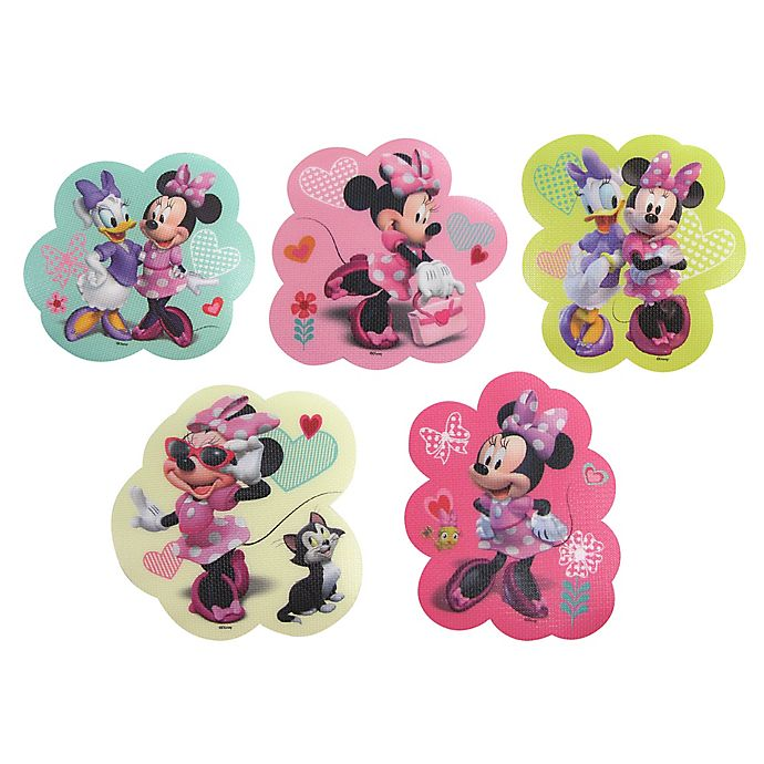 Alternate image 1 for Disney® Minnie Mouse 5-Pack Adhesive Bath Treads