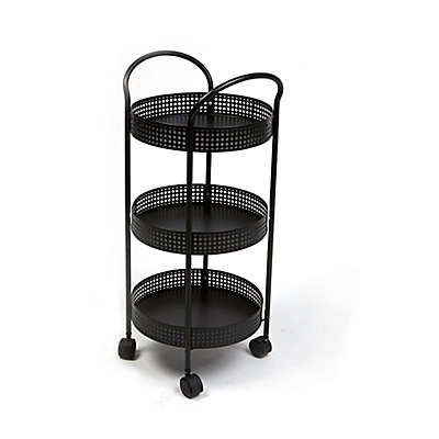 Mind Reader 3-Tier Round Storage Kitchen Trolley in Black