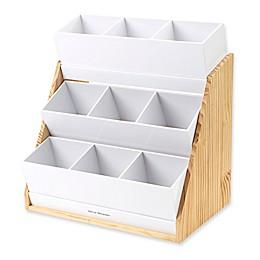 Mind Reader Acrylic 9-Compartment Condiment Organizer with Wood Base in White