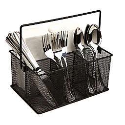 Mind Reader 4-Compartment Mesh Basket Desk Organizer with Handle in Black