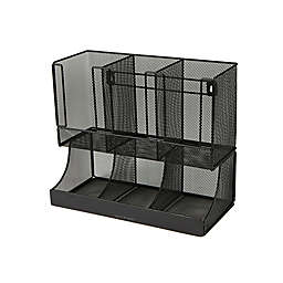 Mind Reader Metal 6-Compartment Condiment Organizer with Cup in Black