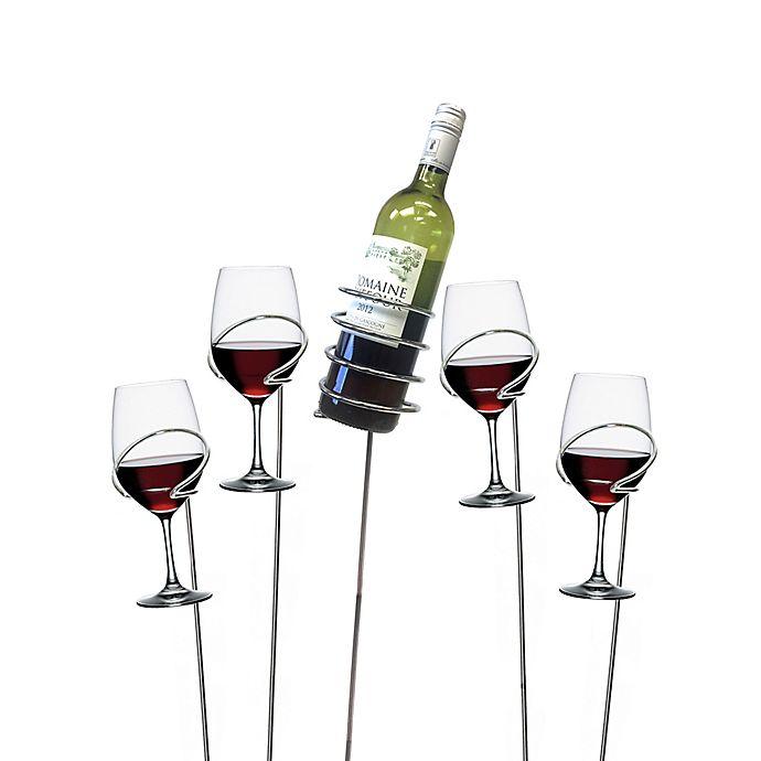 Alternate image 1 for Mind Reader 5-Piece Wine Bottle and Glass Holder Sticks