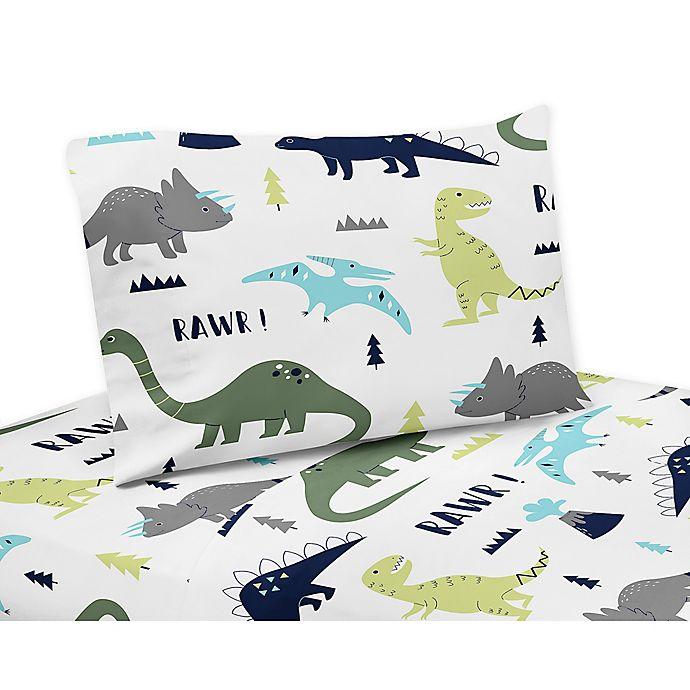 Alternate image 1 for Sweet Jojo Designs Mod Dinosaur Queen Sheet Set in Turquoise/Navy