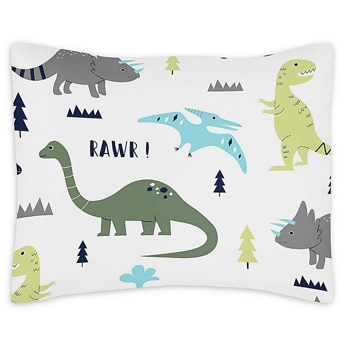 Alternate image 1 for Sweet Jojo Designs® Mod Dinosaur Reversible Standard Pillow Sham