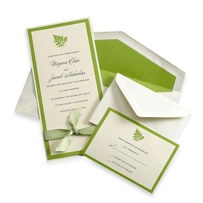 Gartner Studios Tall Green Fern Invitation Kit Set Of 50 Bed