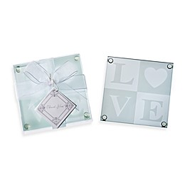 Kate Aspen® LOVE Glass Coaster Wedding Favor (Set of 4)
