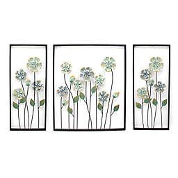 Blue Flowers 3-Piece 48-Inch x 28-Inch Metal Wall Art
