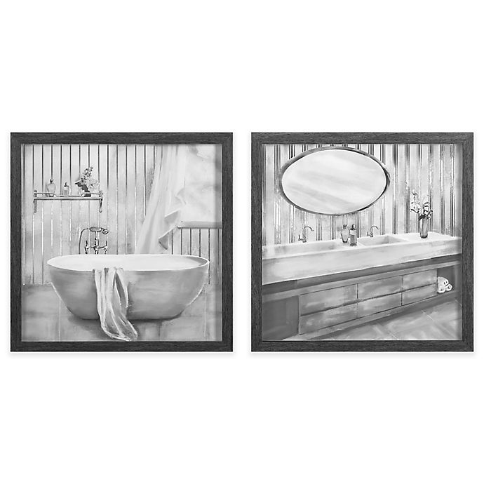 Bathroom 12 Inch Square Framed Wall Art