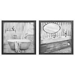 Zhejiang Wadou Sketch Bathroom 12 Inch Square Framed Wall Art In Black White