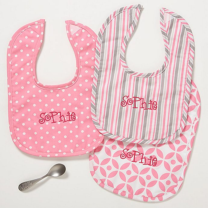 Alternate image 1 for Pretty In Pink Bibs (Set of 3)