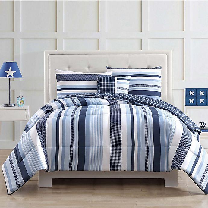 My World Mason Stripe Comforter Set In Blue Bed Bath Beyond