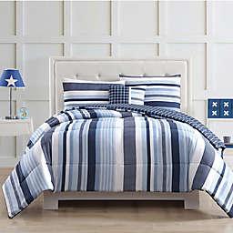 My World Mason Stripe Comforter Set in Blue