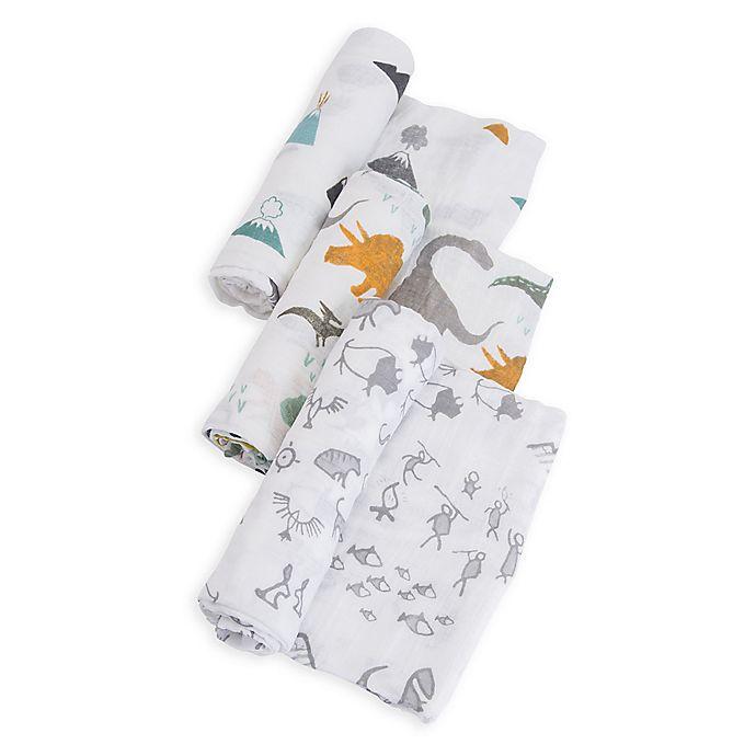 Alternate image 1 for Little Unicorn Dino Friends Muslin Swaddle Blankets (Set of 3)